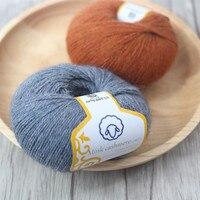 300 gam (50 gam * 6 cái) Chồn Cashmere Merino Len Dài Tóc Sợi Cho Tay-Dệt Kim Crochet Đề Mỏng Tốt Mặc Trong Mùa Đông