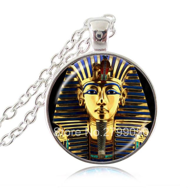 Golden king tut pharaoh pendant necklace ancient egyptian golden king tut pharaoh pendant necklace ancient egyptian tutankhamun jewelry glass dome handmade sweater necklace accessories aloadofball Gallery