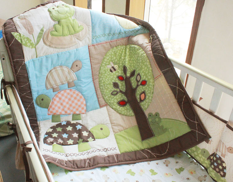 Ups Free 7 Pcs Cartoon tree Baby Bedding Set Baby cradle crib cot bedding set cunas