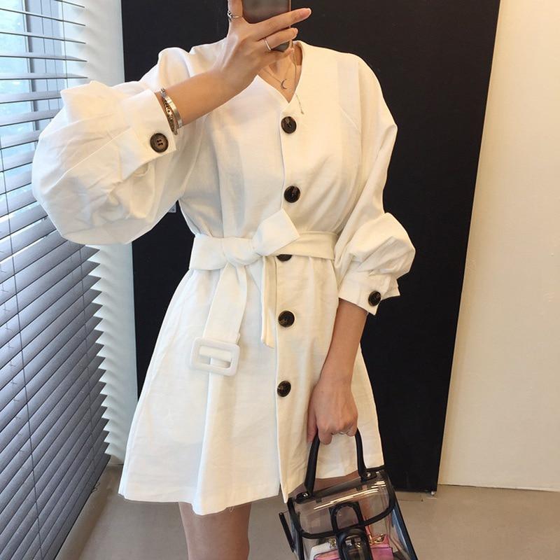Décontracté White Dress Automne Unique apricot Taille Mini 2018 Poitrine Féminine Style Robe Gladself Manches Dress Blanc Haute Femmes Avec Ceinture Robes Lanterne q1UxTRFwZ