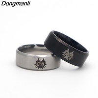 20pcs/lot M1431 DMLSKY Men's Cartoon Ring In Black Silver For Men Stainless Steel Wedding Band Laser Engraved