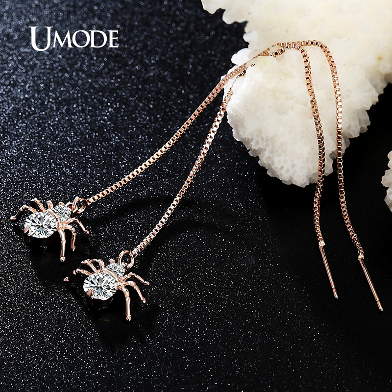Купить с кэшбэком UMODE Fashion Spider Zircon Drop Earrings for Women Rose Gold Round CZ Long Box Chain Earring Jewelry Pendientes Mujer AUE0175