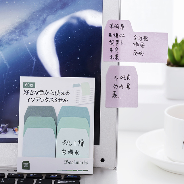 Cute Kawaii Memo Pad Sticky Notes Stationery Sticker Gradient index Posted It Planner Stickers Notepads Office School Supplies 2