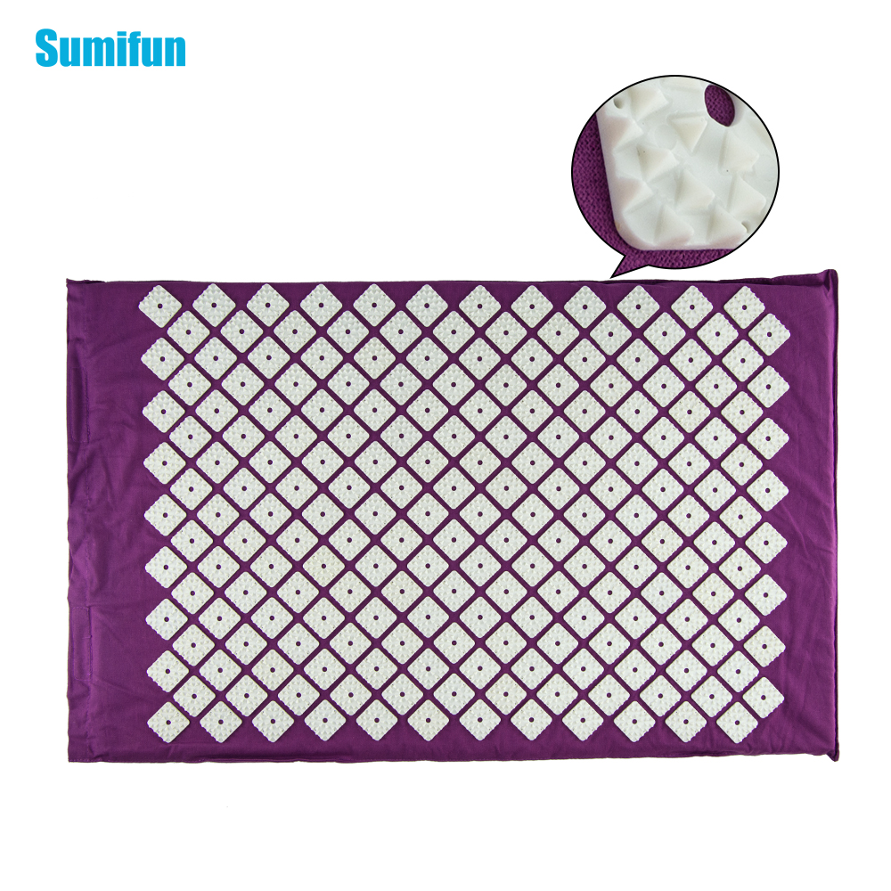 Sumifun Massage cushion Acupressure Mat Relieve Stress Pain Acupuncture Spike Yoga Mat without Pillow Drop shipping C1190 povihome 1set massage cushion acupressure therapy mat relieve stress pain relief acupuncture spike yoga mat with pillow d06874