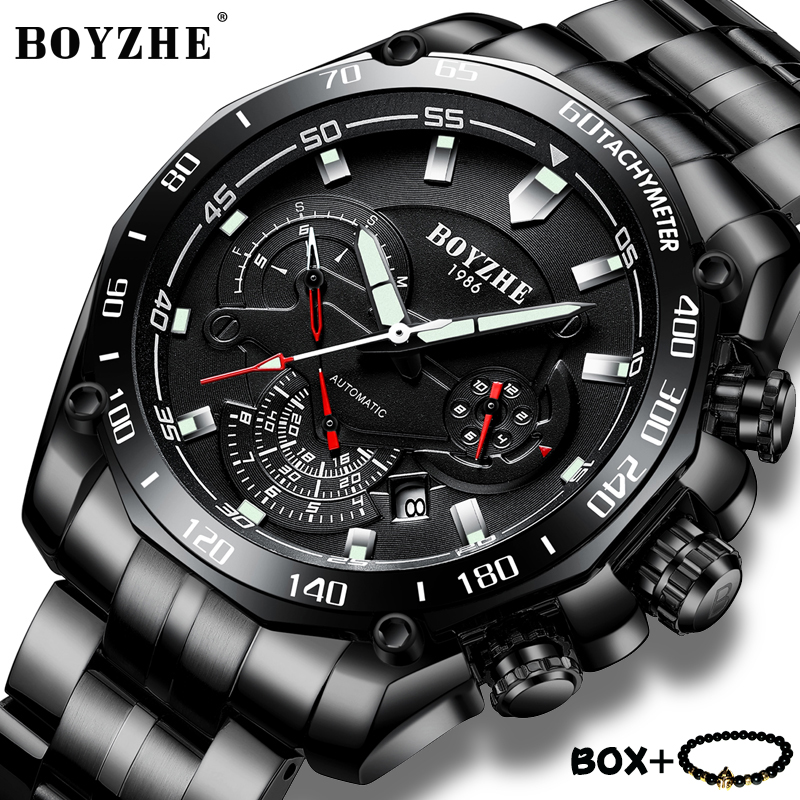BOYZHE Luxury Mechanical Watches Multifunction Stainless steel Sports Watch Men Luminous Waterproof Wristwatch relogio masculino