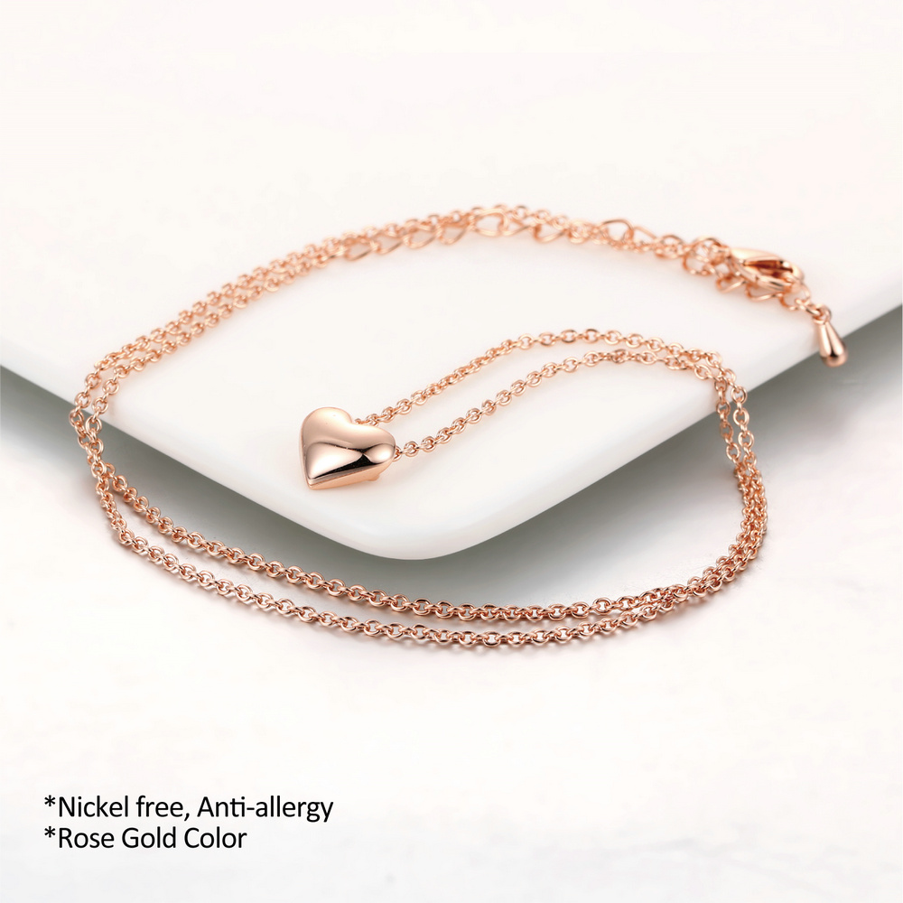 Double Fair Simple Elegant Love Heart Cute Chain Necklaces & Pendants Rose Gold Color Metal Fashion Jewelry For Women DFN099