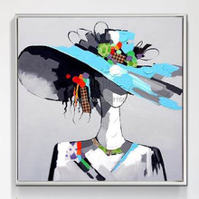 Artist Hand painted High Quality Oil Painting modern fashion girl in blue hat Beautiful model Wall Art picture Abstract painting