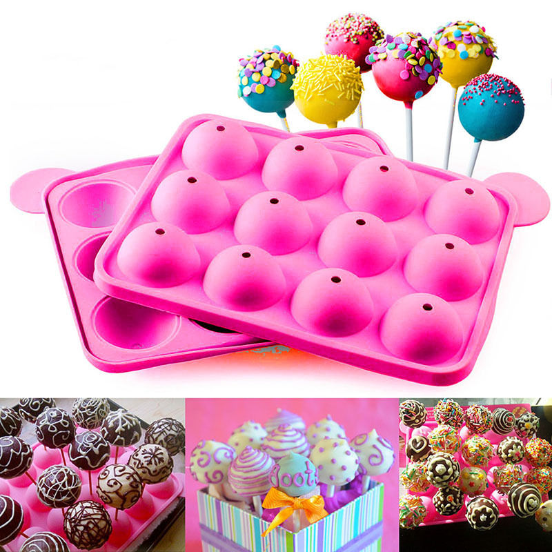 1pc Round Shape Lollipop Pop 12 Holes Mould Silicone Party Cake Cookie Candy Chocolate Maker Baking Tool Tray