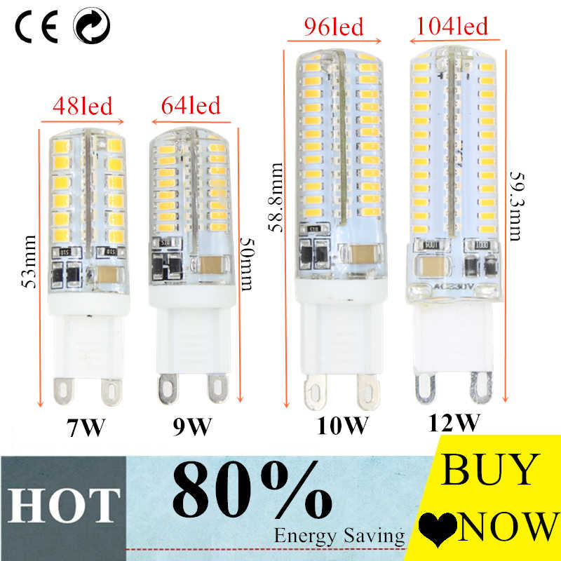 Hight power G9 G4 led corn lamp AC220V 3014 7w 9w 10w 12W 2835LED Crystal Silicone Candle Replace 20-40W halogen lamps free
