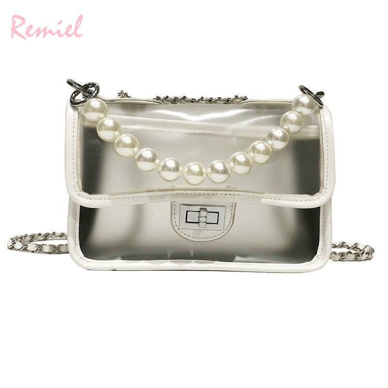 Sweet Girl Transparent Jelly bag 2019 Fashion New Quality PU Leather Women's Designer Handbag Lock Chain Shoulder Messenger bags 4