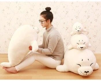 large 80cm cartoon seal plush toy white seal doll soft throw pillow toy birthday present Xmas gift 0232