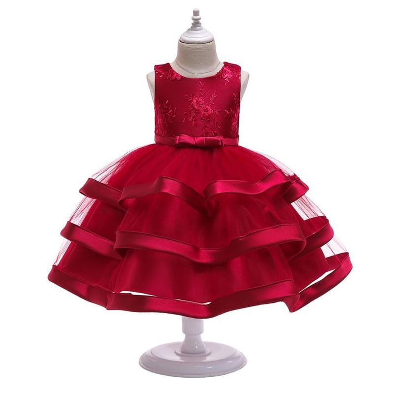 Kids Wedding Dress Girls Baby Cake Layered Princess Girl Kid Teenage Clothing Party for