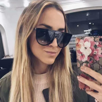 2017 Brand Designer Women Retro Flat Top Sunglasses Vintage Acetate Shaded Lens Thin Shadow Glasses Men Oculos De Sol 744M 1
