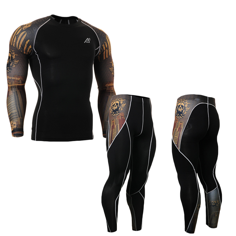Men s Compression Sets 3D Prints Long Sleeves Rashguard MMA Compression Shirt Full Length Pants for