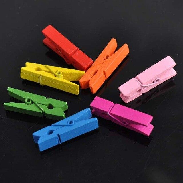10 Pz decorativi In Legno Molletta Clip di Artigianato Colori Misti 35x11mm Per