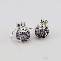 Pink Pave Ball Cz Rhinestone Crystal Drop Earrings Authentic 925 Sterling Silver Jewelry For Women Wholesale