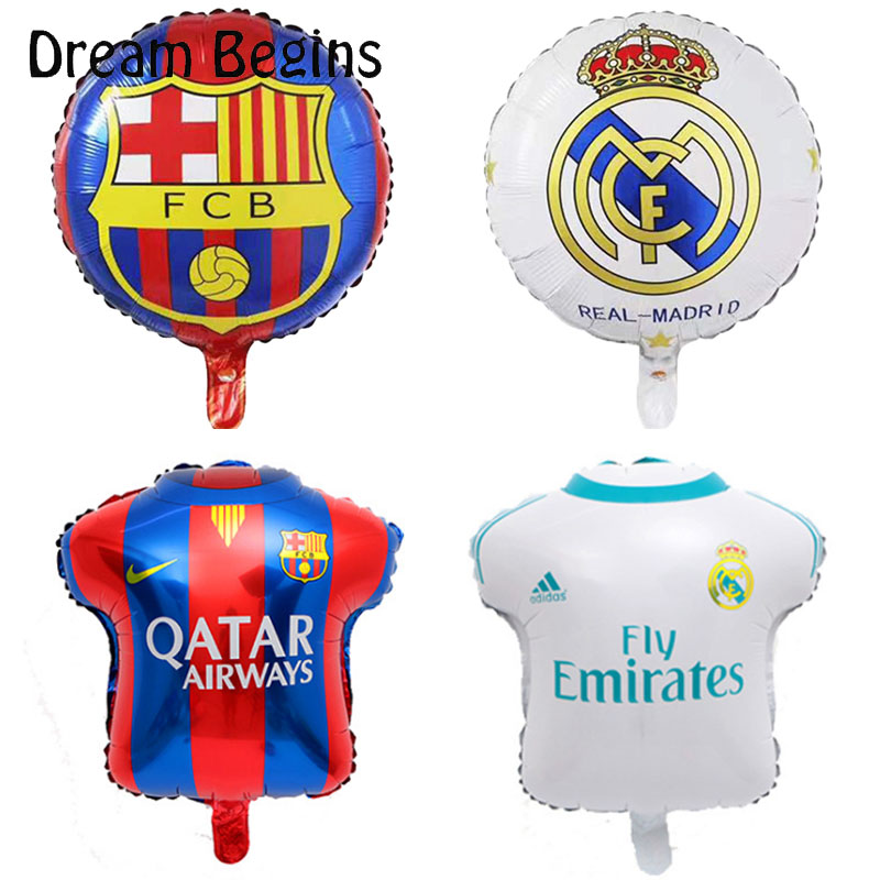 DB 2Pcs 18inch La Liga football league team match Barcelona Real Madrid jersey fans carnival bar celebration decoration balloons-in Ballons & Accessories from Home & Garden