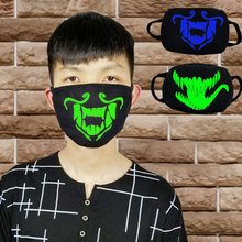 Black Luminous Face Mouth Mask Noctilucent Kawaii Anime Tooth Anti-dust Pollution Masks Cotton Fabric Anti-dust Pollution Masks
