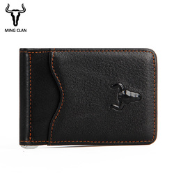Mens Money Clip Wallet Genuine Leather Money Clips Super Thin Cash Holder Front Pocket Men's Wallet with Clip Card And Wallets