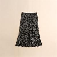 Woman Summer Thin 100% Silk Trumpet / Mermaid Skirts Female Oversized Breathable Silk Skirts Women Silk Falda Lady Dot Silk Jupe