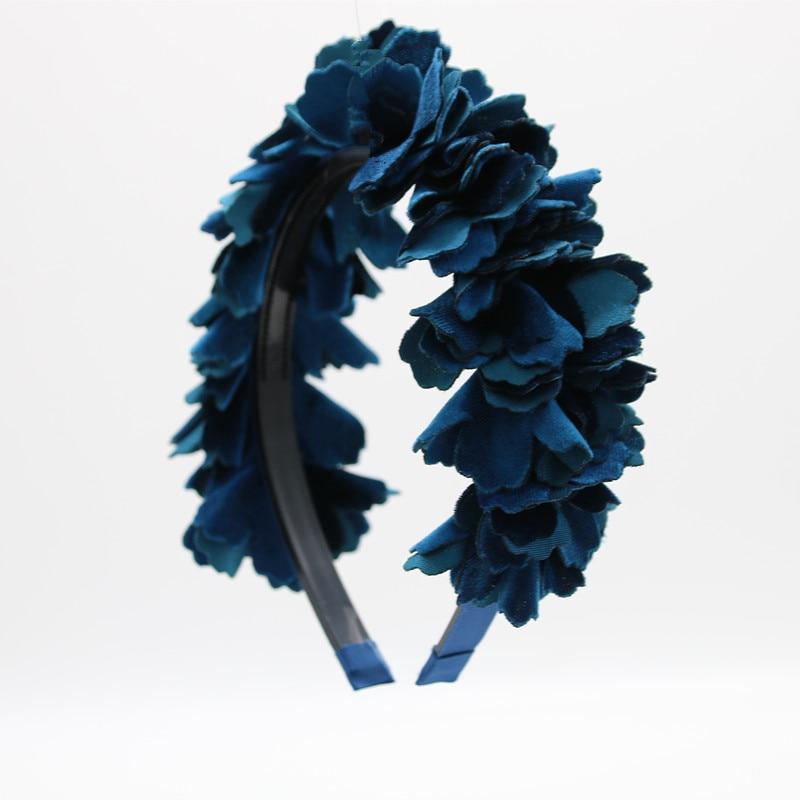 2018 new fashion velvet fiore shag OEM hairband bambini accessori per capelli testa piena di modo con fascetta di plastica con gripes denti