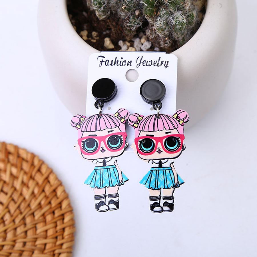 Мода для девочек, яркие цвета, серьги со шпилькой, для Для женщин с нарисованной девочкой, серьги милые аниме-серьги романтическая девушка ушные украшения, аксессуары - Окраска металла: B17-58