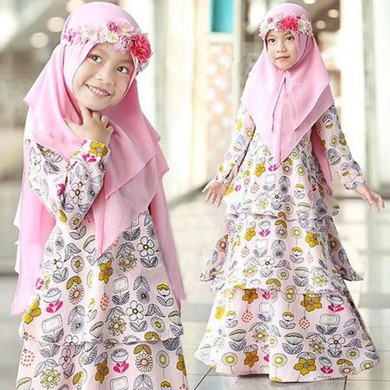Niños musulmanes Abaya Turquía Ramadán niños caftán túnica de Dubái Hijab chica vestido Abayas Elbise caftán marroquí chica islámica ropa