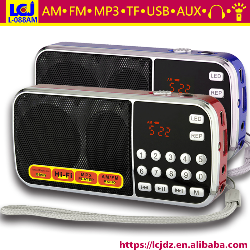 10pcs L 088AM portable mini slim pocket digital auto scan am fm radio with MP3 music