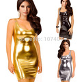 E229 Sexy Women Synthetic Leather Dresses Clubwear Gold/Silver/Black Bodycon Casual Bag-Hip Mini Summer Dress Vintage Vestidos