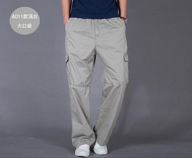 d0d65aee442c8 Man Spring Plus Size Safari Pants Male Summer Oversized Thin 100% Cotton  Straight Trousers Men