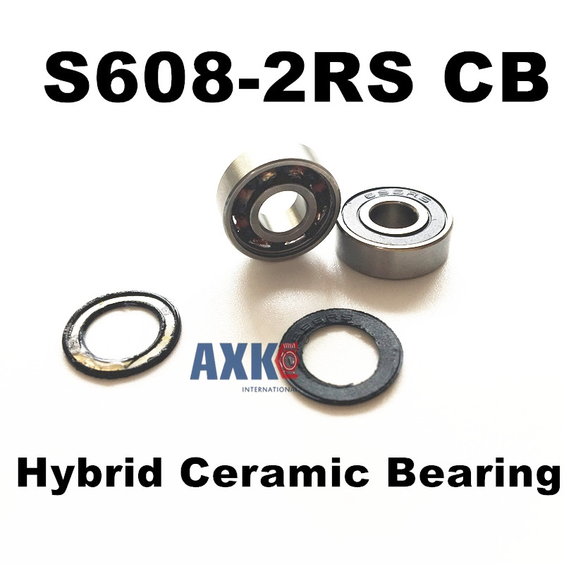 Free shipping S608-2RS CB  stainless steel 440C hybrid ceramic deep groove ball bearing 8x22x7mm 608 купить