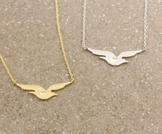Gold /Silver plated Unique Bird Seagull Pendant choker Necklace for women fashion beautiful christmas birthday gifts