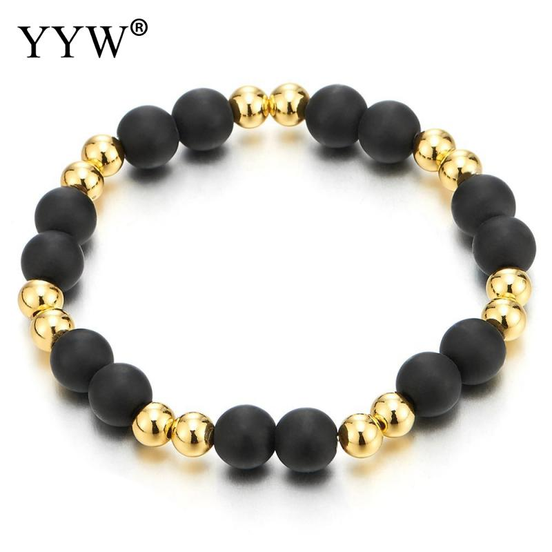 Classic Style Natural Lava Stone Bracelets for Men Unisex 8mm Beaded Bracelet 4mm Gold Color Beads Charm Bracelet Luxury Style