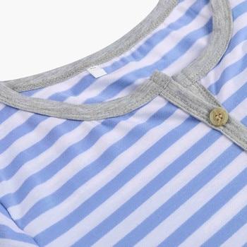Women's Long Sleeve Button Nursing Nightie Stripes Maternity Breastfeeding Dress hamile gecelik maternity hot pajamas nightwear 6