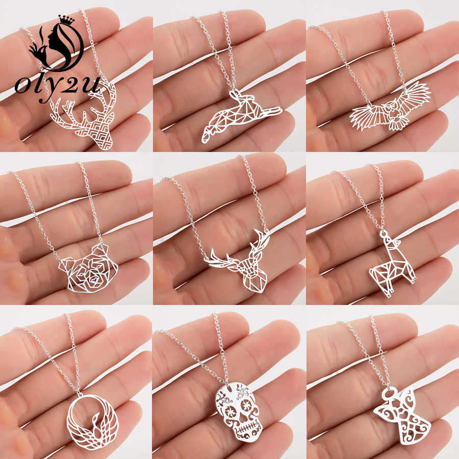 Oly2u Silver Chain Deer Pendants Necklaces For Women Choker Necklace Stainless Steel Long collares femme Fashion Jewelry Chokers