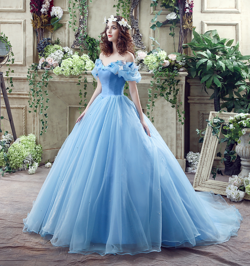 2019 Cinderella Wedding Dress Blue Bridal Gown Cap Sleeves Princess Vestido De Novia Bridal Wedding Gown Robe De Ball Gown