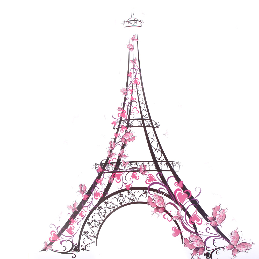 New for Eiffel Tower Pink Butterfly Vinyl Wall Sticker Decal DIY Nursery Kids Room Decor 60x45cm 1PC