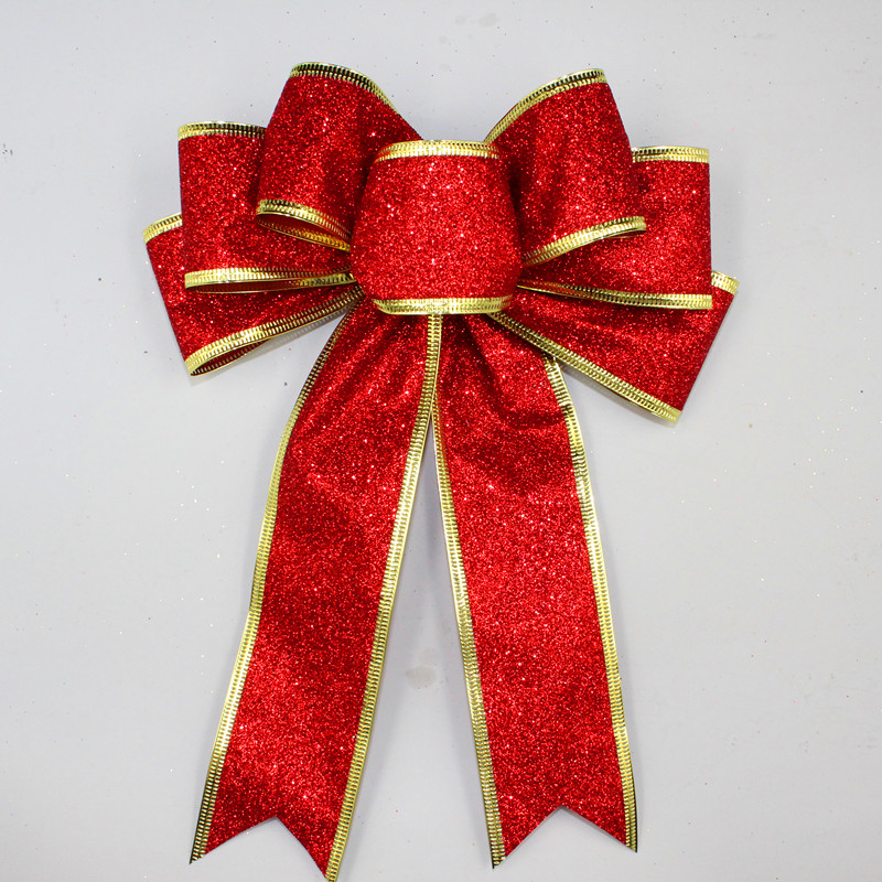3 kolory Duży czerwony srebrny złoty Sparkling Glitter Christmas Ribbon Bow Christmas Tree Decoration Handmade Christmas Ornament