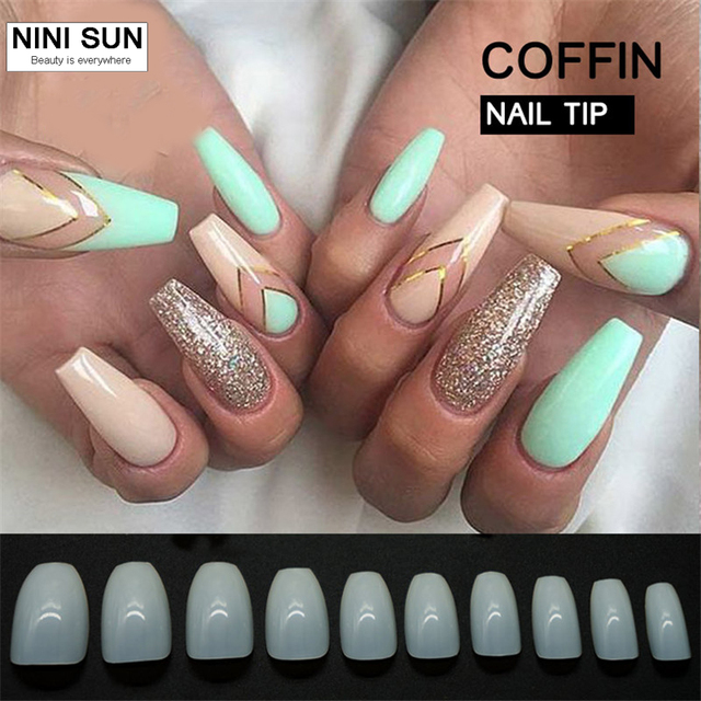 Nieuwe Collectie Coffin Valse Nail Art Design Tips 500 Stksset