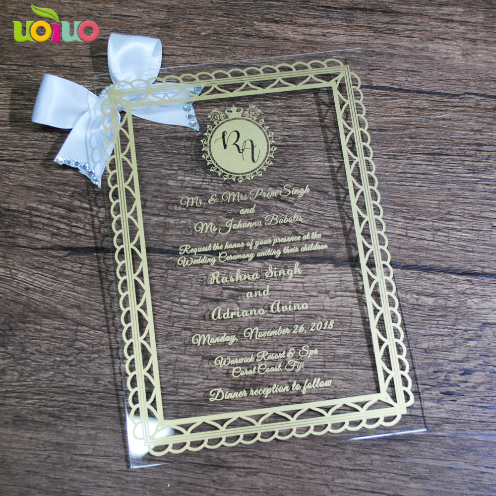 fancy personalized invitation acrylic cards cheap price