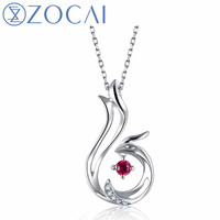 ZOCAI Brand Phoenix 0.04CT Natural Ruby Pendant Real 18K Rose Gold 0.01 CT Certified Diamond with 925 Silver Chain D04542