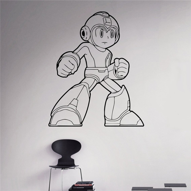 Mega Man Game Wall Decal Comics Superhero Wall Vinyl Sticker Retro Game Home Interior Children Kids Room Wall Decor X042 image