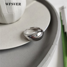 WFSVER 925 sterling silver wide face ring korea style rings for women personality opening adjustable fine jewelry gift wholesale wfsver ins minimalism smooth wide face opening adjustable rings for women 100% top quality 925 sterling silver fashion jewelry
