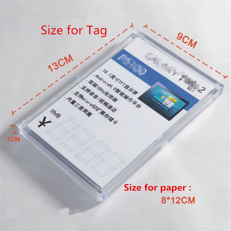 (50 pcs/pack ) Glassy Color Plastics Anti-theft Display Acrylic Price Holders Tag Stand  ...