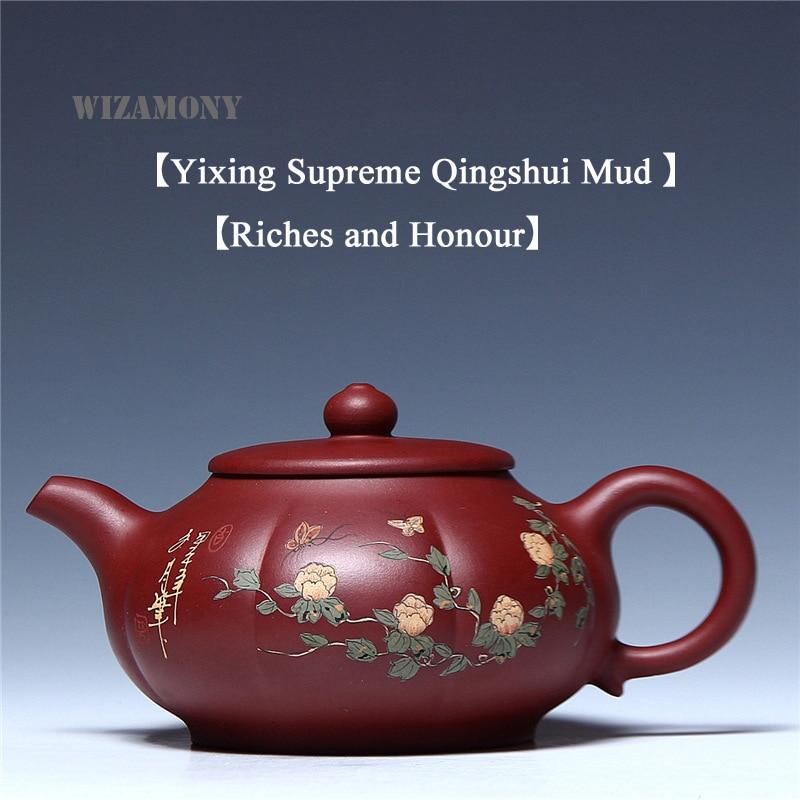 1PCS Yixing Purely Handmade National Senior Artist Purple Clay Qingshui Mud Zisha Ceramics Arts Teapot Clay