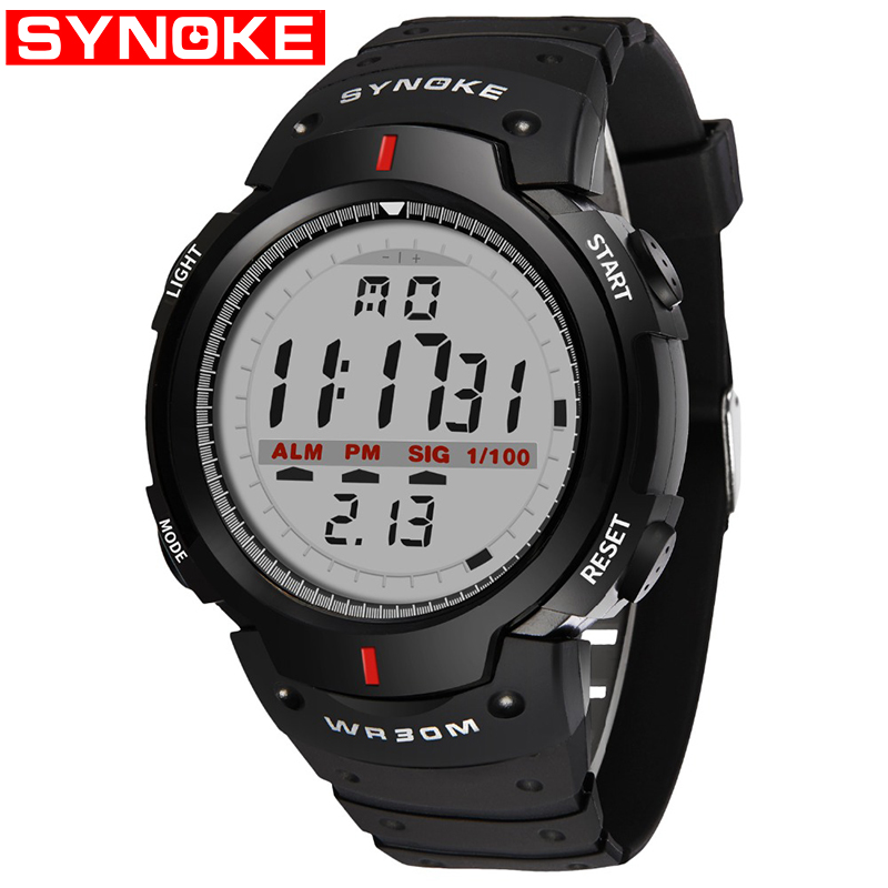 SYNOKE Men's Watch 30M Waterproof Electronic LED Digital Watch Men Outdoor Mens Sports Wrist Watches Stopwatch Relojes Hombre