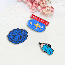 3 Pcs/set Fashion Bros Set Kartun Otak Pensil Lencana Pin Biru Enamel Anak Ransel Logam Lencana Wanita Bros Perhiasan(China)
