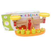 Kids Montessori Material Toys Balance Scale with 6 Pieces Wooden Weights, Preschool Learning Toy Gift for Kids Children
