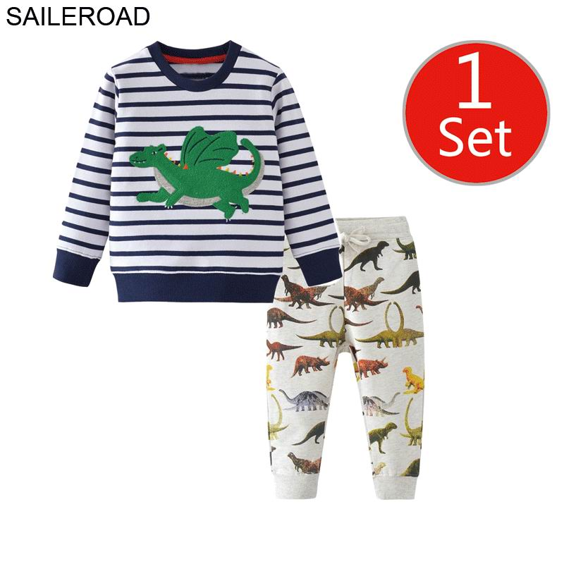 SAILEROAD Dinosaur Print Costumes for Boys Long Sleeve Outfits Autumn Two-piece Toddler Boy Clothing Sets Cotton Clothes Set 3