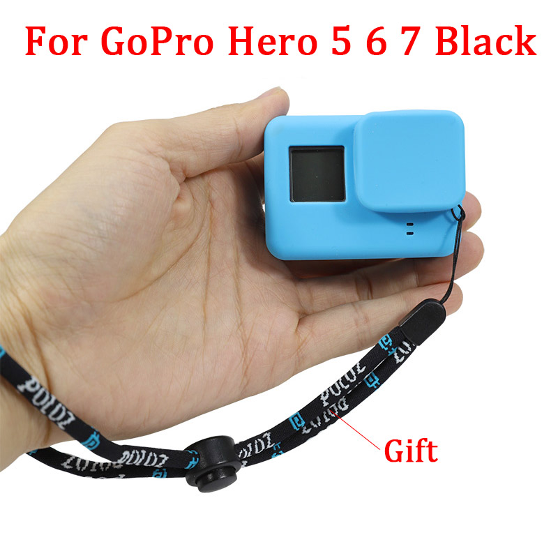 For GoPro Accessories Action Camera Case Protective Silicone Case Skin + Lens Cap Cover For Go Pro Hero 5 6 7 Black Hero Camera
